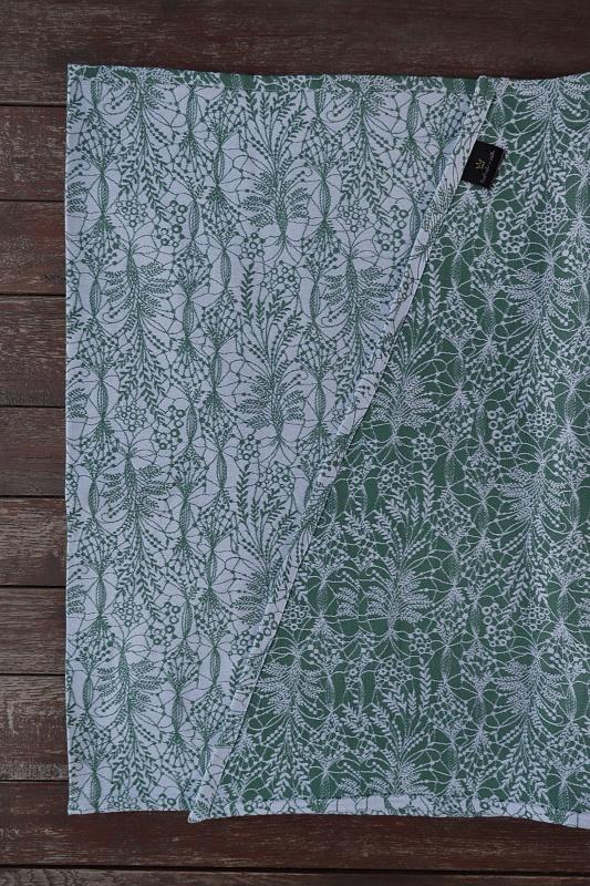 """Nosící šátek bavlněný """"Obilí"""" na bílé osnově se zeleným útkem"""
