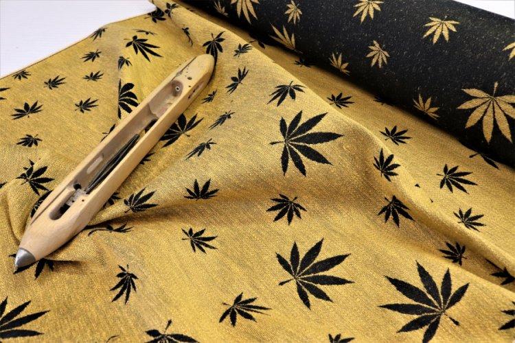 """LÁTKY Nosící šátek > látka konopí-bavlna """"Listy"""" žluté konopí na černé osnově"""
